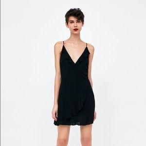 Zara Black Strappy Ruffle Wrap Tie Dress XS